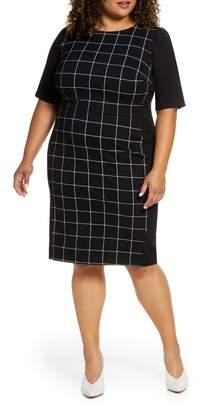 ELOQUII 9-to-5 Windowpane Sheath Dress