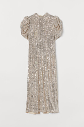H&M Puff-sleeved Sequined Dress - Beige