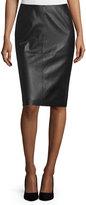 Lafayette 148 New York Slim Leather Midi Skirt, Black
