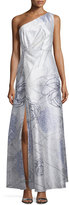 Kay Unger New York Printed One-Shoulder Gown, Mint/Multi