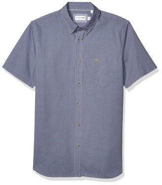 Lacoste Men's Short Sleeve Regular Fit Gingham Woven Shirt