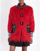 Gucci Leather-detail faux-fur coat