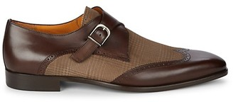 Mezlan Leather Printed Suede Monk-Strap Loafers