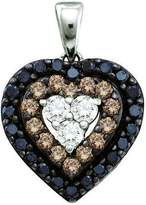 DazzlingRock Collection 0.50 Carat (ctw) 14k White Gold Brilliant White, Brown & Diamond Ladies Heart Pendant