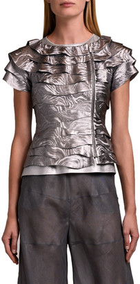 Giorgio Armani Short-Sleeve Printed Leather Jacket