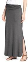 Bobeau Women's Ruched Waist Side Slit Maxi Skirt