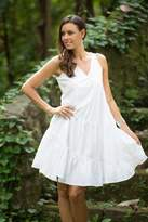 White Cotton Knee Length Sundress from Bali, 'Balinese Cloud'