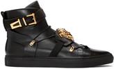 Versace Black Medusa Strap High-Top Sneakers