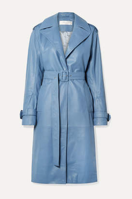 Victoria Victoria Beckham Victoria, Victoria Beckham - Belted Leather Trench Coat - Blue