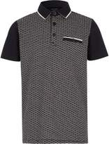 River Island Boys navy textured block polo shirt