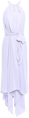 Halston Asymmetric Belted Crepe Halterneck Midi Dress