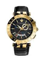 Versace V-Race Round Yellow Gold PVD Watch with Black Dial, 46mm