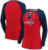 Women's Fanatics Branded Red/Navy Washington Capitals Plus Size Break Out Play Lace-Up Long Sleeve V-Neck T-Shirt