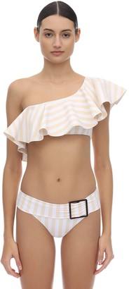 WeWoreWhat Positano Ruffled Striped Bikini Top