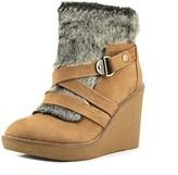 Fergie Omega Open Toe Leather Wedge Heel.