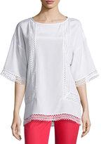 St. John Lace-Trim Half-Sleeve Top, Bianco