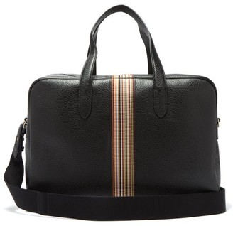 Paul Smith Signature Stripe Pebbled Leather Weekend Bag - Mens - Black