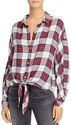 Bella Dahl Plaid Tie-Front Dolman-Sleeve Shirt - 100% Exclusive