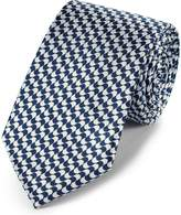 Navy Blue and White Silk Geometric Classic Tie by Charles Tyrwhitt
