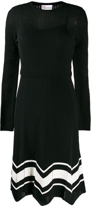 RED Valentino Contrast Trim Midi Knitted Dress