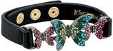 Betsey Johnson Black Leather Bracelet with Colorful Butterflies Bracelet