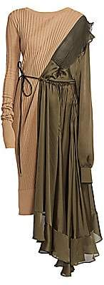 Sacai Women's Eric Asymmetric Combo Knit Dress