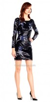 Aidan Mattox Long Sleeve Sequin Embroidered Fitted Cocktail Dress