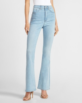 Express High Waisted Light Wash Flare Jeans