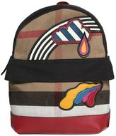 Burberry Check Canvas Backpack W/ Leather Patches
