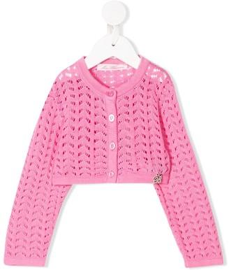 Miss Blumarine Open Knit Cropped Cardigan