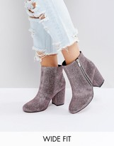 Asos REGAN Wide Fit Kitten heel Ankle Boots