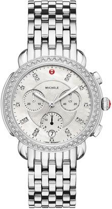 Michele 38mm Sidney Diamond Chronograph Watch, Silver