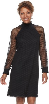 Nina Leonard Women's Lace Mockneck Trapeze Dress
