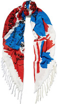 Burberry Fringed Printed Silk And Cotton-blend Scarf - Blue