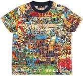 Junior Gaultier Graffiti Printed Cotton Poplin T-Shirt