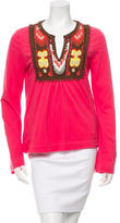 Tory Burch Embroidered Jersey Top