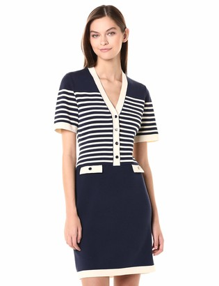 Anne Klein Women's V-Neck Stripe Sheath Sweater Dress