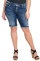 Silver Jeans Women's Plus Size Suki Perfectly Curvy-Fit Mid-Rise Bermuda Short Dark Wash