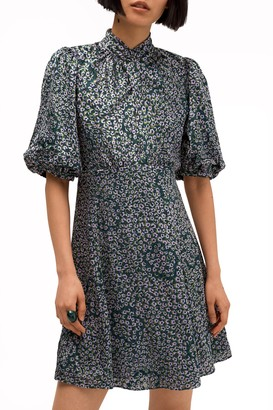 Kate Spade Flair Flora Devore Puff Sleeve Mini Dress