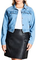 City Chic Plus Size Women's Ruffle Denim Jacket