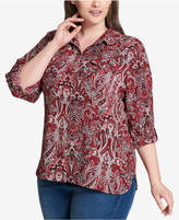Tommy Hilfiger Plus Size Paisley-Print Roll-Tab Shirt, Created for Macy's
