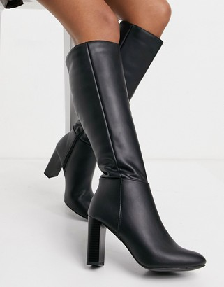 Lipsy pu knee high boot with block heel in black