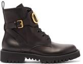 Valentino Garavani - V-logo Tread-sole Leather Ankle Boots - Womens - Black