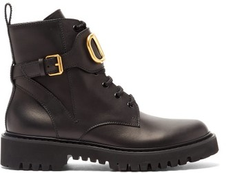 Valentino V-logo Tread-sole Leather Ankle Boots - Womens - Black