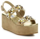 Prada Embellished Suede Platform Wedge Sandals