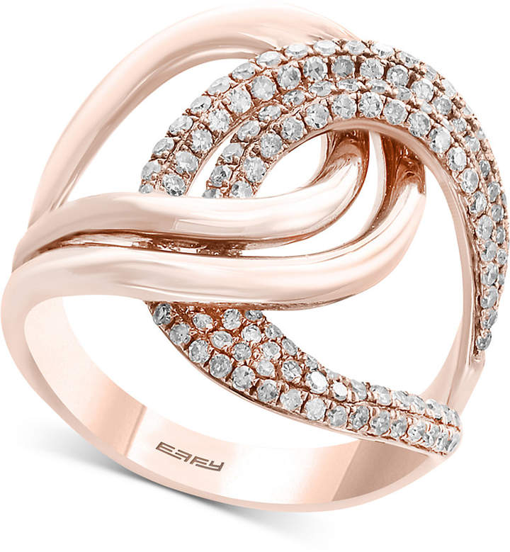 Effy Pave Rose by Diamond Interlocking Loop Ring (3/4 ct. t.w.) in 14k Rose Gold