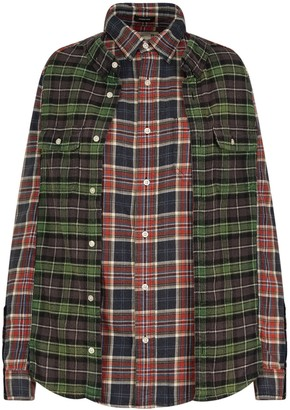 R 13 Reconstructed Plaid Shirt