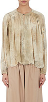 Pas De Calais WOMEN'S SHIRRED GAUZE PEASANT BLOUSE