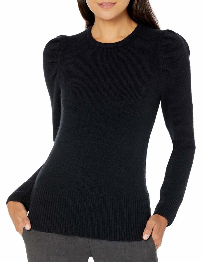 Brand Lark /& Ro Womens Slim Fit Ribbed Puff Sleeve Sweater