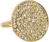 Love Rocks Crystal & Goldtone Disk Ring